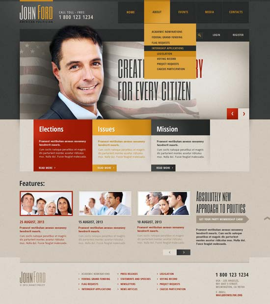 political candidate responsive website template 44574