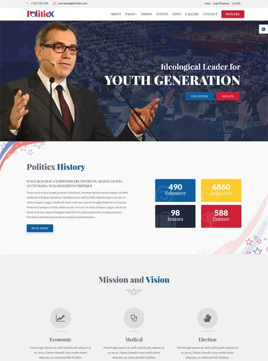 politicx political campaign html template