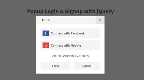 popup login signup jquery