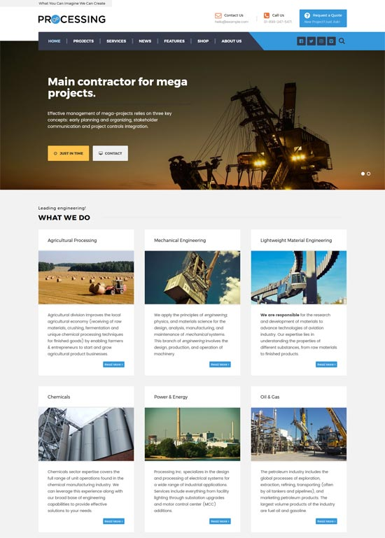 processing industrial factory engineering wp theme