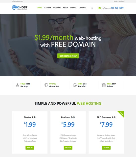 prohost hosting technology WordPress theme
