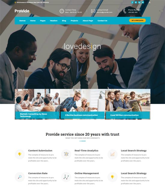 provide professional business consulting wordpress theme