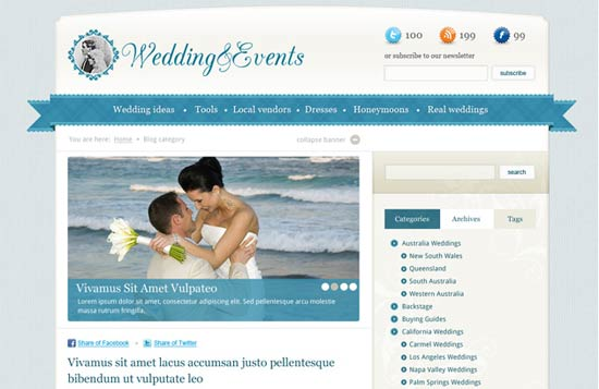 Wedding Events PSD Web Templates