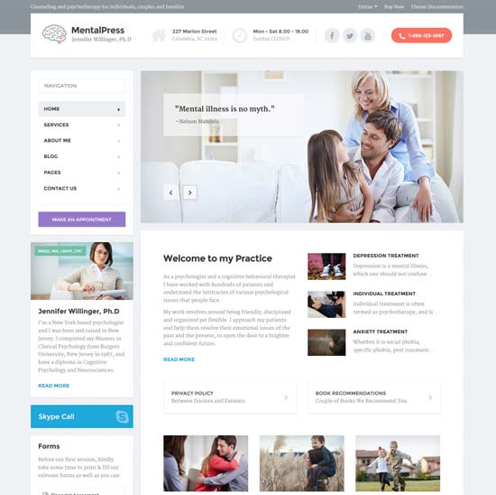 psychology counseling medical website template