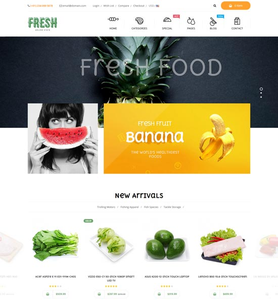 pts fresh food restaurant prestashop theme