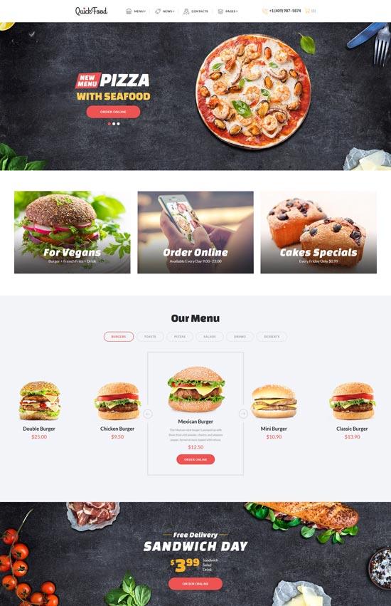 quick food fast food restaurant website template