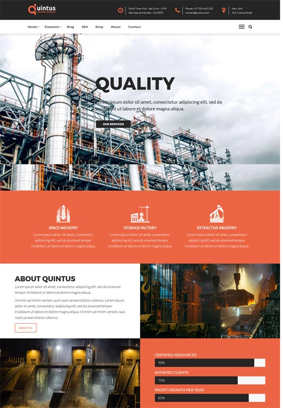 quintus industry factory wordpress theme