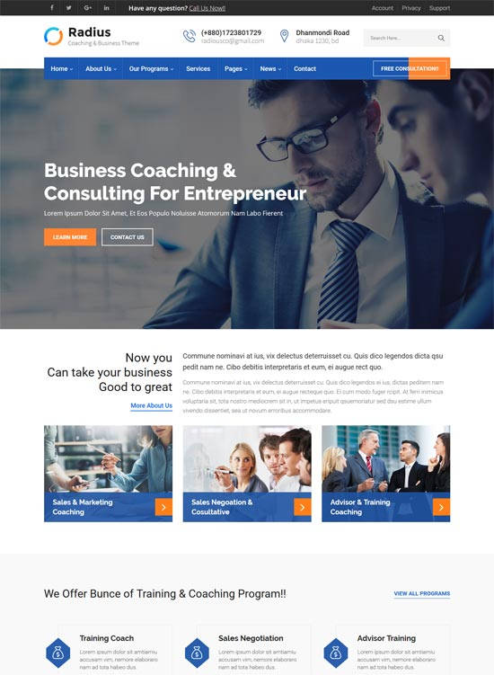 radius consulting business html template