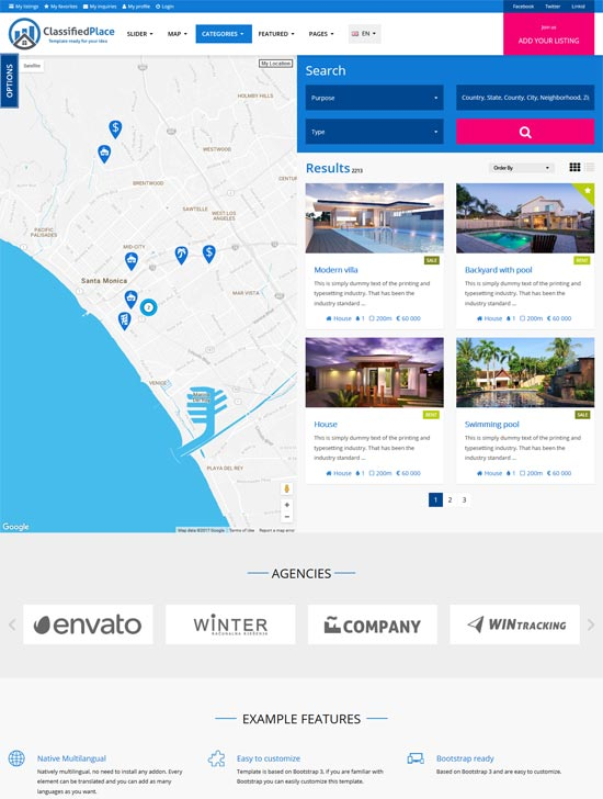 real estate geo classified wordpress theme