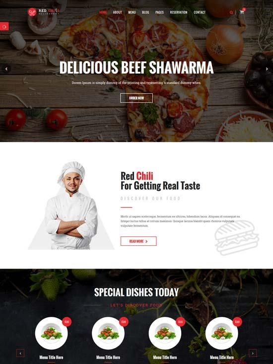 red chili restaurant html5 template