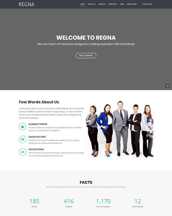 regna one page bootstrap 4 theme