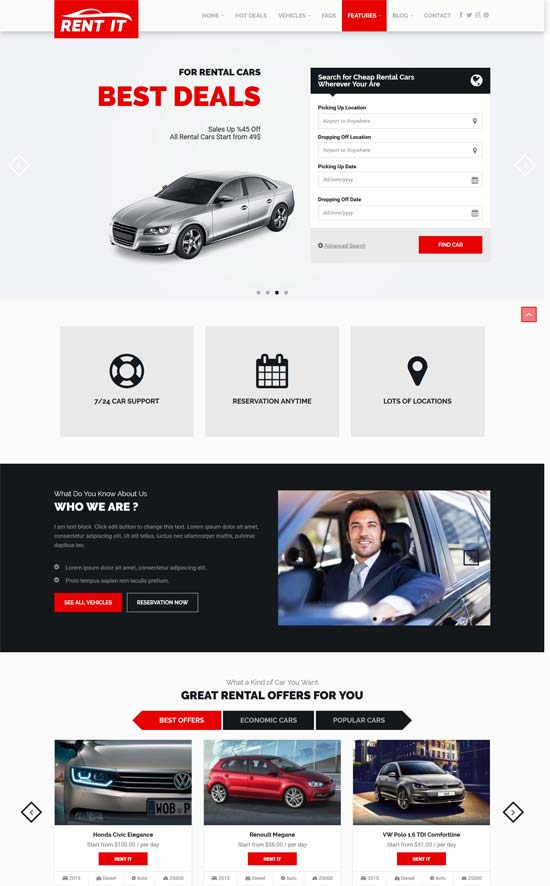 rentit car vehicle rental wordpress theme