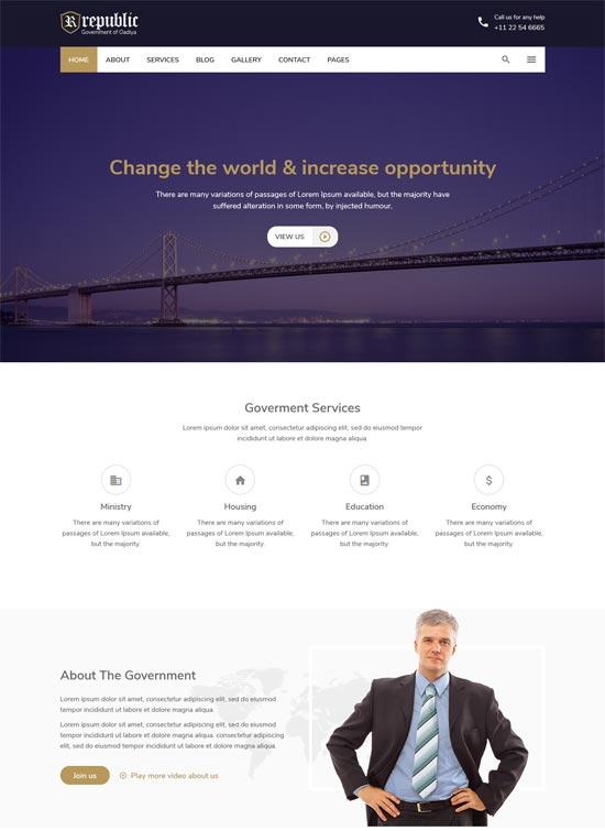 republic government html template