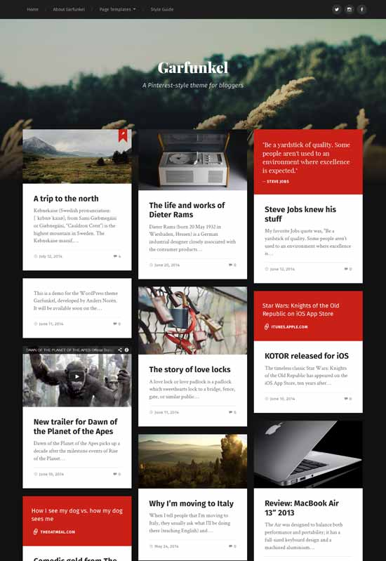 garfunkel pinterest wordpress theme