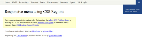 responsive menu using css regions