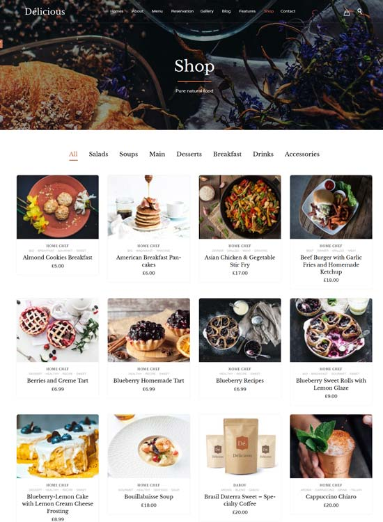 restaurant cafe wp theme