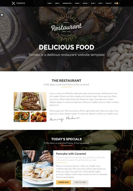 restaurant website template responsive html5