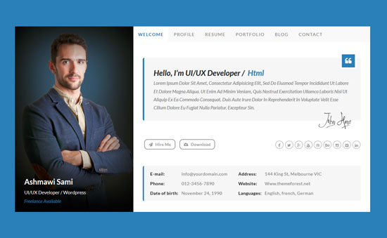 riche personal vcard html template