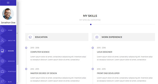 rida vcard html5 resume template