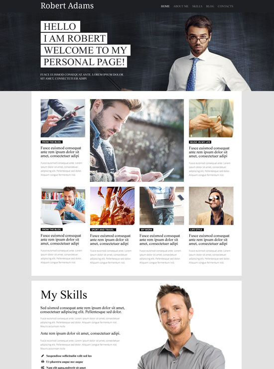 robert adams personal page wordpress theme
