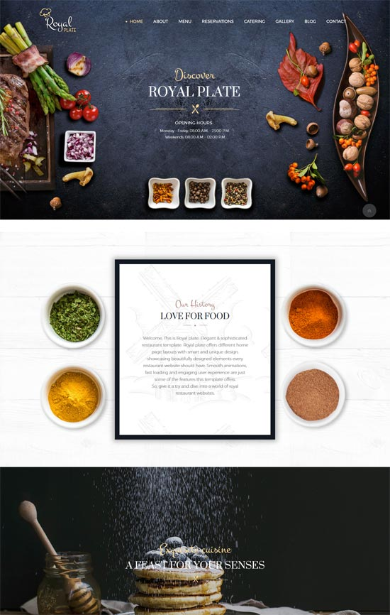 royal plate restaurant catering wordpress theme