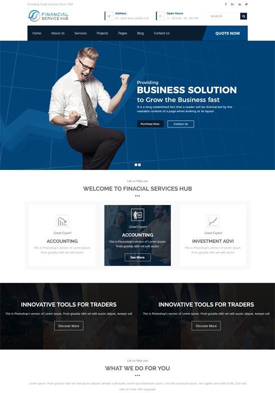 rtl financial business hub wordpress theme