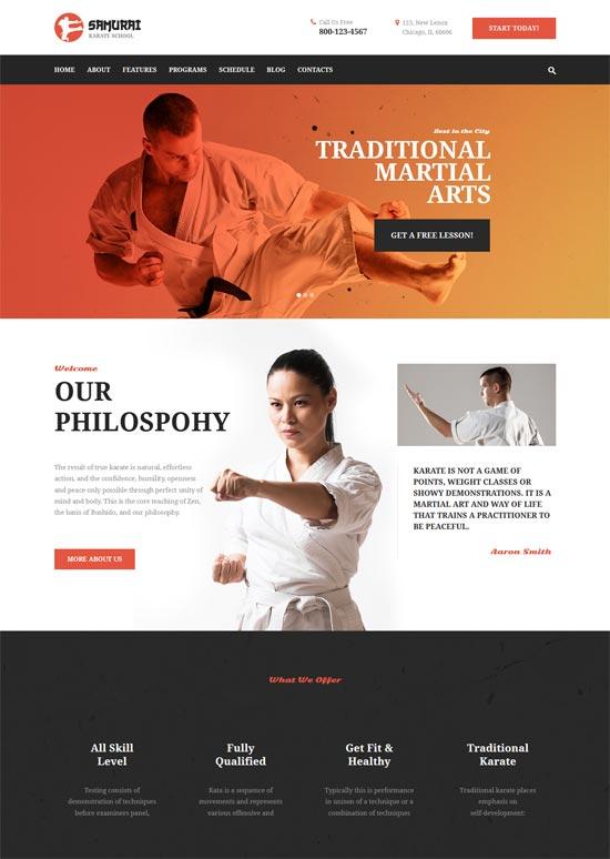 samurai karate school fitness center theme