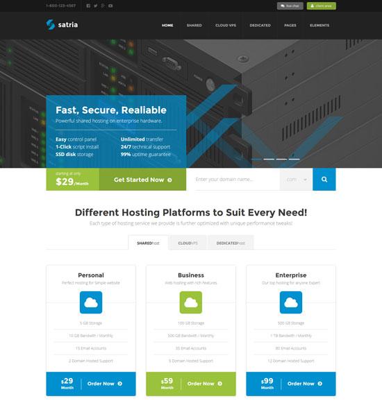 satria professional hosting html5 template