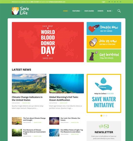 save life charity donations wordpress theme