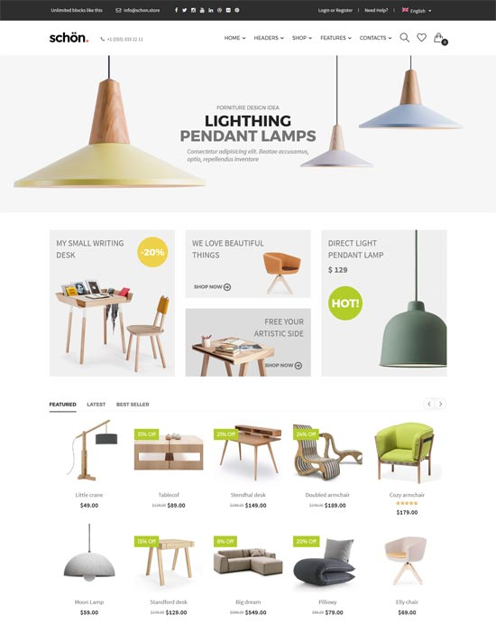 schön modern clean furniture store woocommerce theme