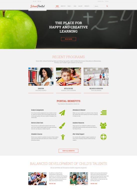 school portal educational joomla template
