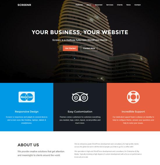 screenr free fullscreen parallax WordPress theme