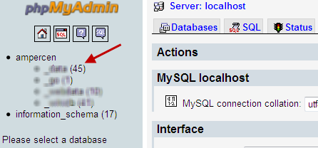 How to mount a database backup in phpmyadmin