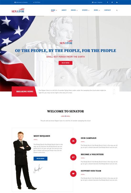 senator politic campaign html template