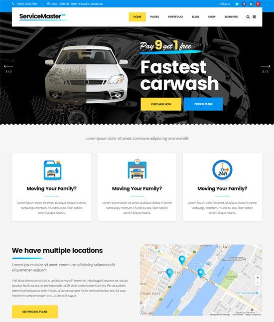 service master car wash wordpress theme
