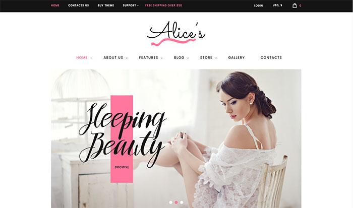 Alice's - Lingerie Fashion Boutique WordPress Theme