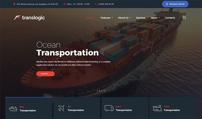 Translogic - Transportation Services WordPress Theme