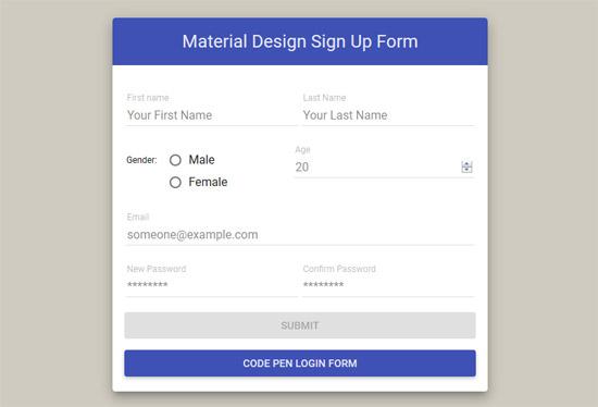 sign up form material design angular