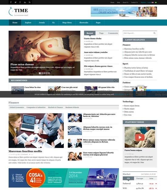 sj time news portal joomla template