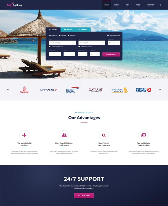 sky booking travel online website template