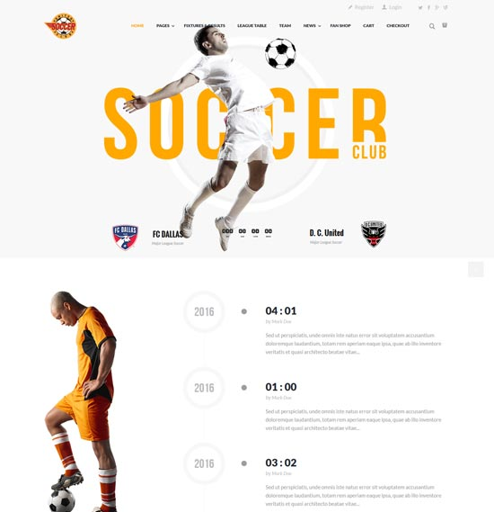 soccer sport club wordpess theme