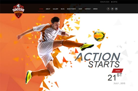 soccer sports club html template