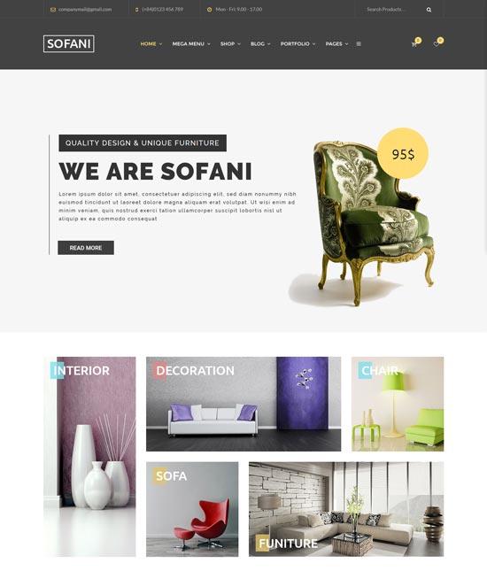 sofani furniture store WordPress theme