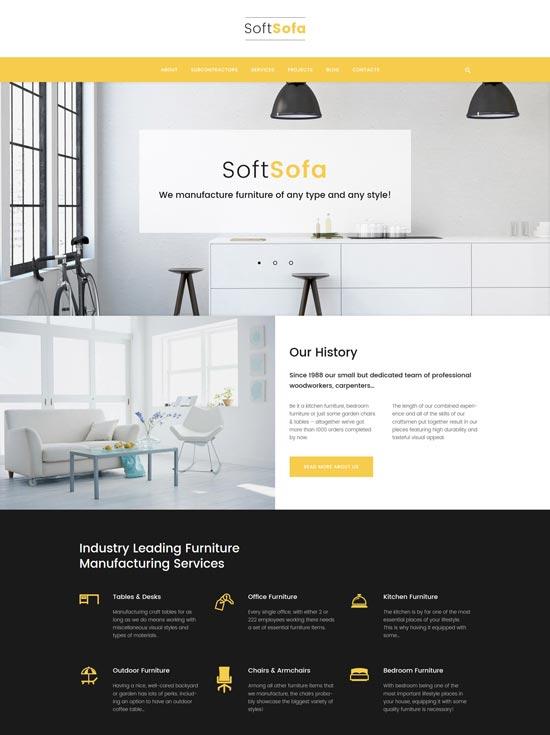 soft sofa furniture manufacturing company wordpress theme