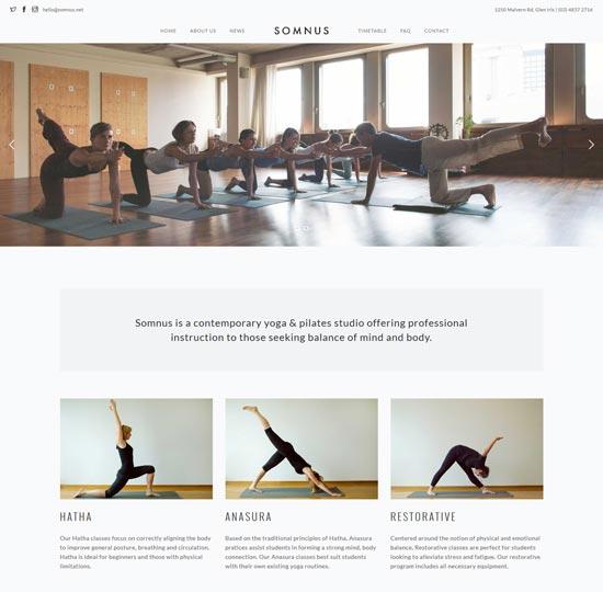 somnus yoga fitness studio WordPress theme