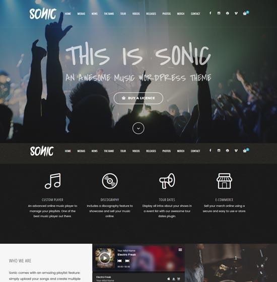 sonic music industry WordPress theme