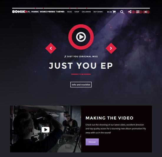 sonik music WordPress theme