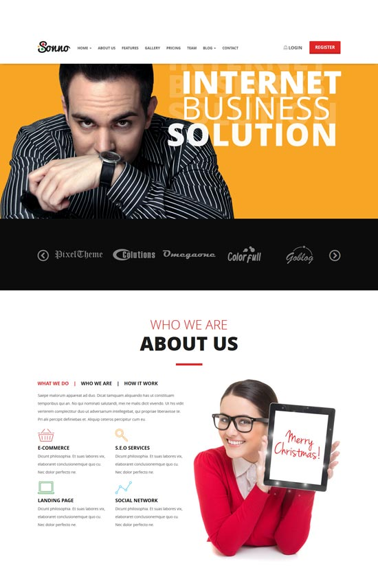 sonno marketing landing page wp theme