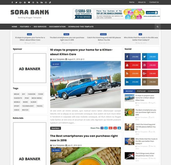 sora bank blogger banking theme