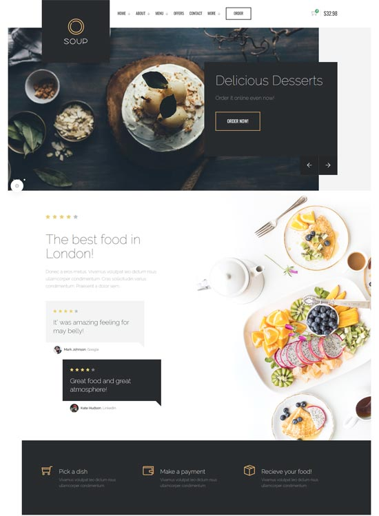 soup restaurant online ordering system template